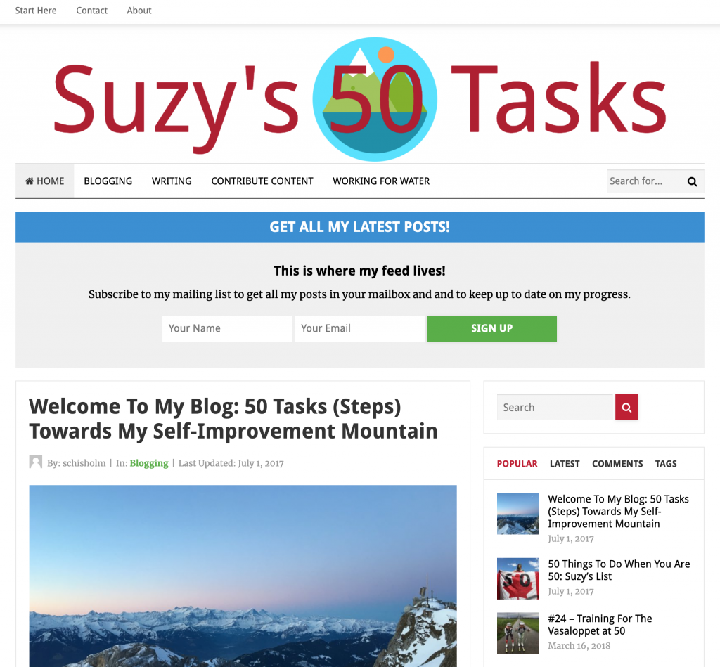 suzys 50 tasks homepage